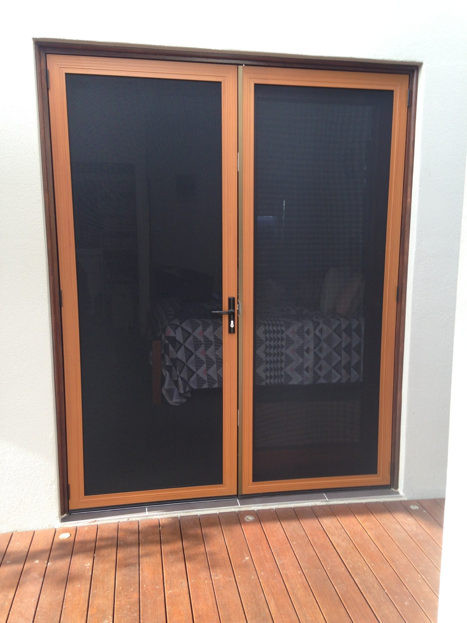 Secureview Double Doors with Timber Look Frame & Secureview Double Doors with Timber Look Frame - Townsville Windows ...
